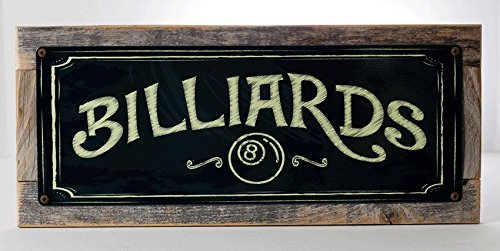 Billiards Metal Sign, on Handmade Rustic Reclaimed Wood Frame, Eight Ball, Pool, Cue, Game Room, Mancave, Den, Wall Décor