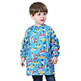Cute Car Cartoon Waterproof Bibs Baby Smock Apron Overclothes for Kids Child Toddler Pullover Long Sleeve Painting Apron Blue 3-4 T