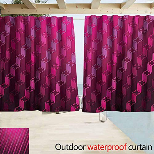 AndyTours Rod Pocket Top Blackout Curtains/Drapes,Magenta Abstract Striped Psychedelic Motif Fashion Gradient Retro Structured Grid Art,Room Darkening, Noise Reducing,W55x39L Inches,Taffy Rouge ()