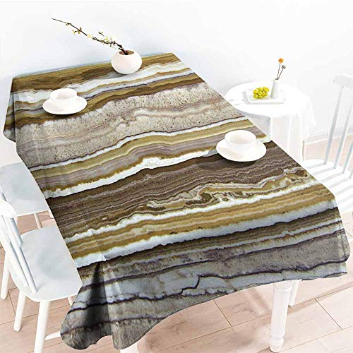 Set Onyx Red Chess (Homrkey Stain-Resistant Tablecloth Apartment Decor Onyx Marble Rock Themed Vertical Lines and Blurry Stripes in Earth Color Mustard Brown and Durable W54 xL84)