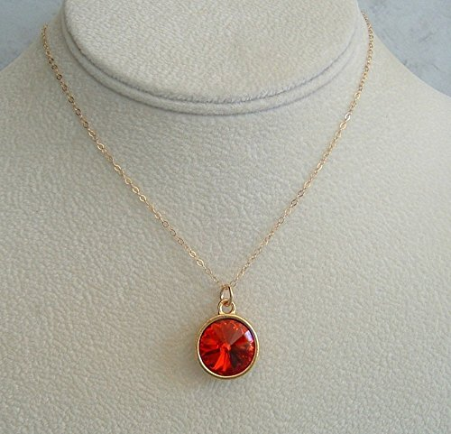Red Rivoli Crystal Swarovski Elements Pendant Necklace 24