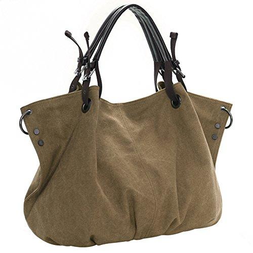 BYD - Mujeres School Bag Bolsos totes Bolsa de viaje Canvas Bag Carteras de mano Bolsos bandolera Shopping Bag with Multi Pockets Caqui