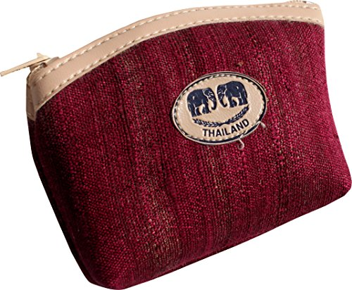 (RaanPahMuang Rough Silk Small Thailand Brand Wallet 3 inch x 4 inch Pack of 6, Rose Wood Red)