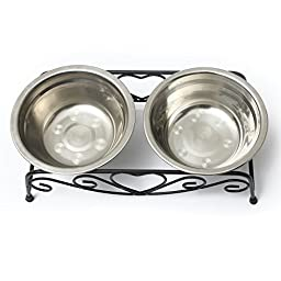 Yosoo Double Stainless Steel Bowls Dog Cat Pet Food Water Feeder Dish Retro Iron Stand