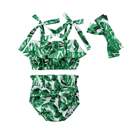 (rechange Baby Girls 3 Pcs Outfit Set Off Shoulder Flounce Leaf Print Straps Crop Top + Bowknot Ruffle Bloomer Shorts with Headband (0-1 Years))