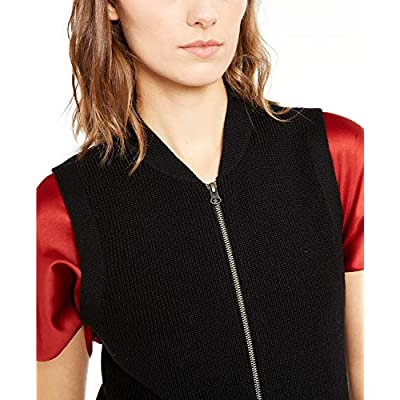 Eileen Fisher Ribbed Merino Wool Zip Front Sweater Vest Black X-Large at Women's Clothing store