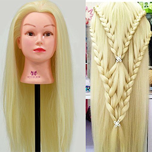 """Neverland Beauty 22"""" 10% Real Human Hair Hairdressing Cosmetology Mannequin Manikin Training Head Model with Clamp"""