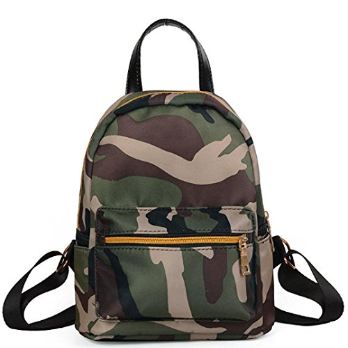 Anyada Women Teenage Girls Boys Solid Zipper Backpack School Bag Fashion Shoulder Bag (Camouflage) Camouflage