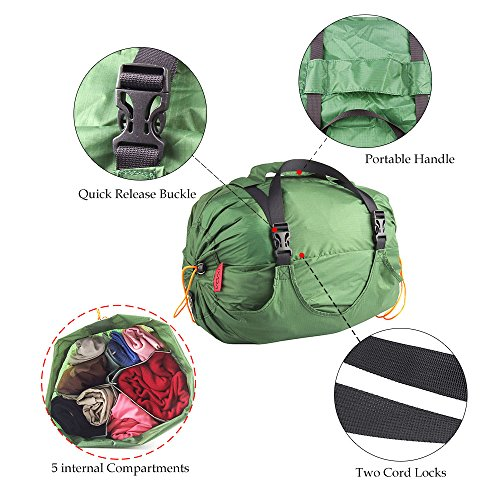 Lixada Camping Beutel/Kompression Taschen mit 5 internen Fächern ,Beschichteten Silizium Wasserdichte/Hohe Kapazität/Ultraleicht