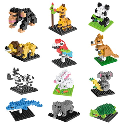 FUN LITTLE TOYS Party Favors for Kids, Mini Animals Building Blocks Sets for Goodie Bags, Prizes, Birthday Gifts, 12 Boxes -