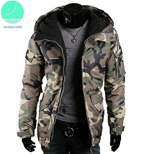 Winter Men's Hooded Camouflage Jacket Fleece Coat Zipper Cotton