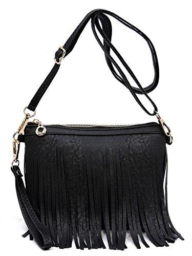 Elphis Western Vintage Fringe Tassel Wristlet Clutch Hipster Shoulder Bag Cross Body Bag(091) (Black)