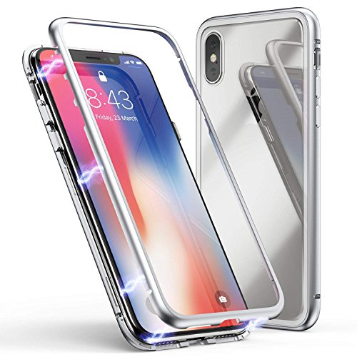 (Folice iPhone Xs Case, Ultra Slim Shockproof Metal Frame Build-in Magnet + Tempered Glass Back Case Cover [Magnetic Adsorption] [Support Wireless Charging] for Apple iPhone Xs 5.8