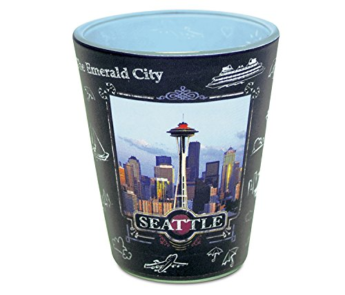 """Puzzled Ceramic Pink """"Seattle Skyline"""" Shot Glass, 2.5 Inch Novelty Glassware for Drinking Game Liquor Tequila Whisky Vodka Shooter Glasses Party Drinkware Famous Sites Themed Home & Bar Accessory from Puzzled"""