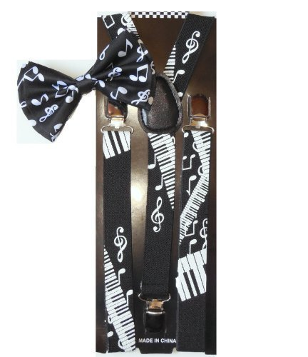 Men Unisex Awesome PIANO NOTES Bowtie and Suspenders Set - -