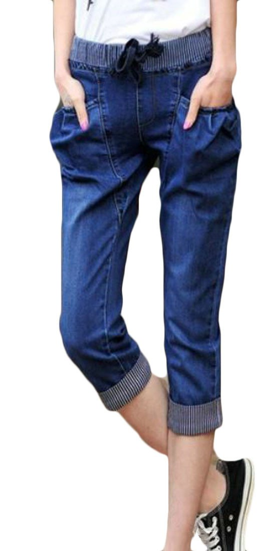 Pandapang Women Denim Capri Harem Faded Washed Jeans Elastic Waist Summer Pants Dark Blue M