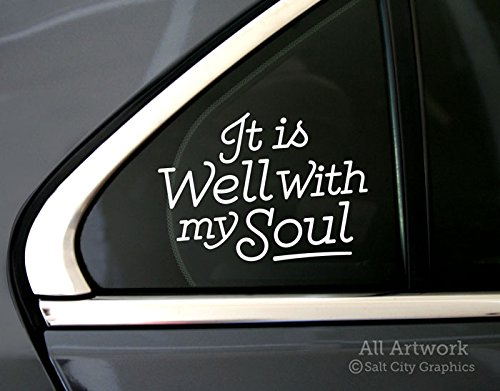 oul Decal - Peace, Religious, Christian Sticker - Car Decal, Bumper Sticker (5 inches wide, White) (Motivational Bumper Stickers)