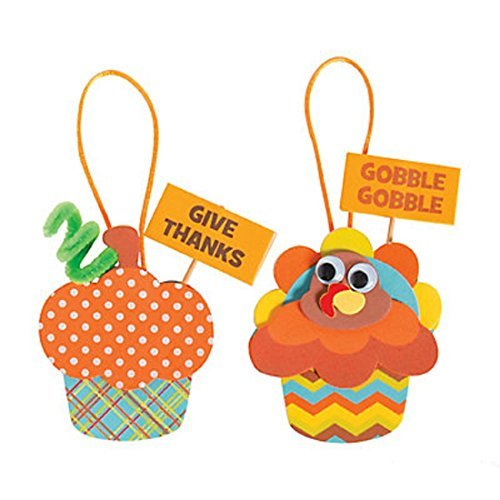 (Thanksgiving Turkey Cupcake Ornament Craft Kit - Makes 12)