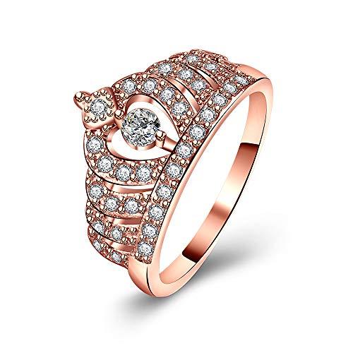 Similanka Rings Women 18K Rose Gold Plated AAA Cubic Zirconia Princess Crown Ring Girl Gift Wedding Engagement (Rose Gold 02, 7) -