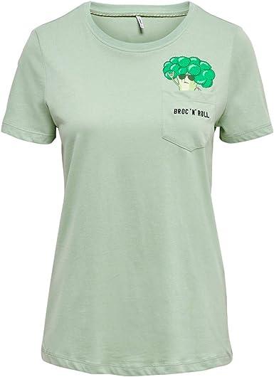 Only Polly 15199744 - Camiseta de manga corta para mujer, color verde Verde XS: Amazon.es: Ropa y accesorios