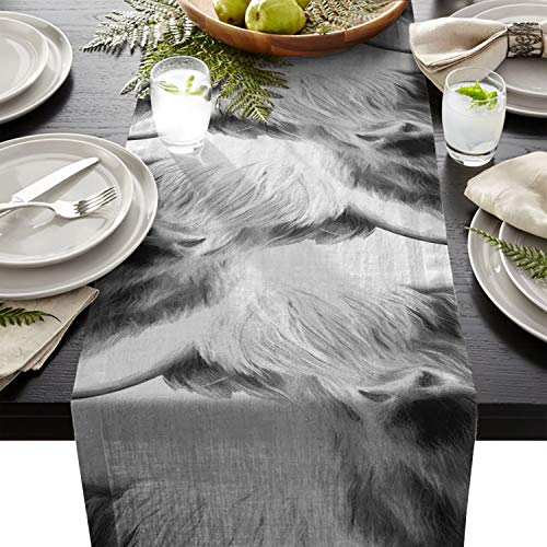 - Cloud Dream Home Portrait of a Highland Cow Table Runner for Morden Greenery Garden Wedding Party Table Setting Decorations 13x70inch