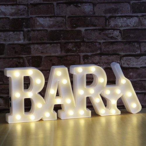 """DELICORE Decorative LED Illuminated Marquee Letter Sign BAR (16.7"""" x 6.69"""" x 1.57"""", USB or Battery Powered, Warm White) - LED Indoor Decorative Night Light(Bar - White)"""