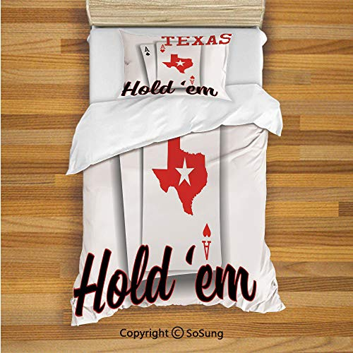SoSung Poker Tournament Decorations Kids Duvet Cover Set Twin Size, Texas Holdem Theme Pair of Aces with Map Winning Hand Decorative 2 Piece Bedding Set with 1 Pillow Sham,Red Black White