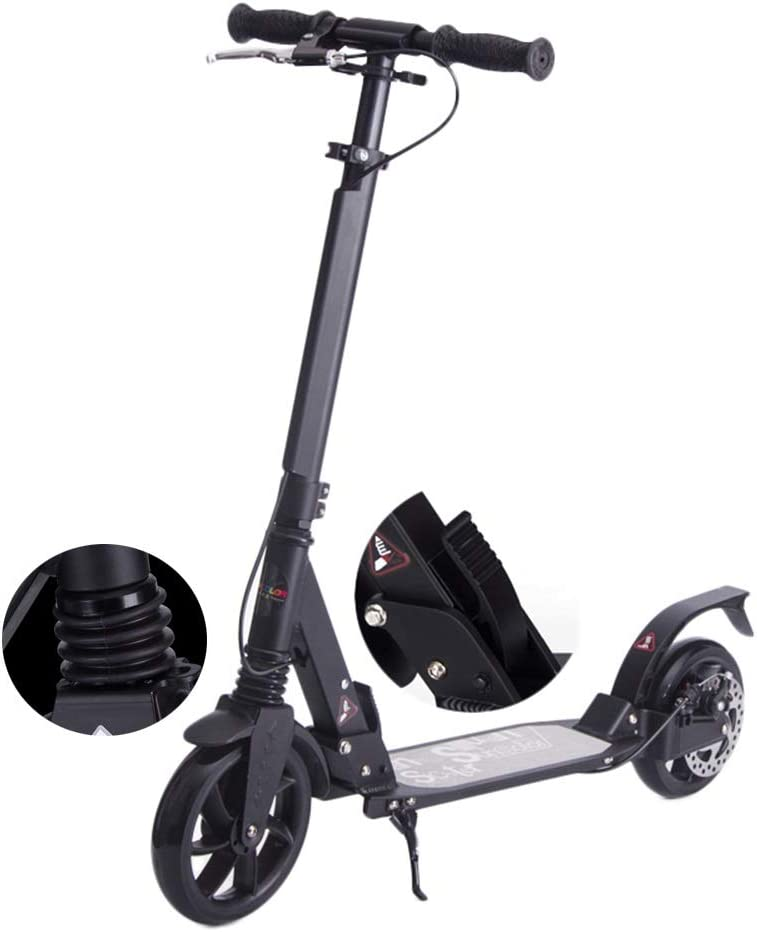 キックスクーター 大人10代用ディスクブレーキ付きブラックキックスクーター、調節可能な折りたたみ式、デュアルサスペンション、ショルダーストラップ、ビッグホイール、サポート100kg、非電動
