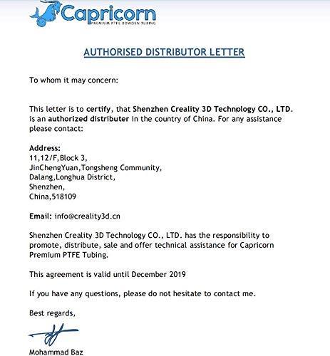 Creality Capricorn XS Series Tubo de baja fricción PTFE Bowden de ...