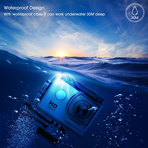 DBPOWER Action Camera 12MP Waterproof Sports Camera 170 Degree Ultra Wide Angle Len Action Camcorder with 2 Pcs Rechargeable Batteries