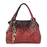 Flada Ladies Leather Hobo Handbags Clearance Tote Bags Purses for Women Red
