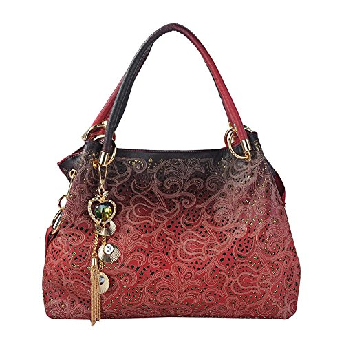 Flada Ladies Leather Hobo Handbags Clearance Tote Bags Purses for Women Red by Flada