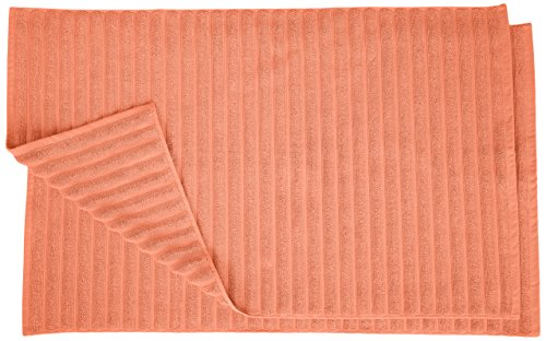 Superior Striped Bath Mat 2-Pack, 100% Combed Cotton, Luxury Spa Ribbed Texture, Durable and Washable Bathroom Mats - Coral, 22