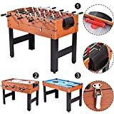 K&A Company Multi Combo Football Billiards Pool Hockey Game Table Kids Adult 48'' 3-in-1 45 lbs