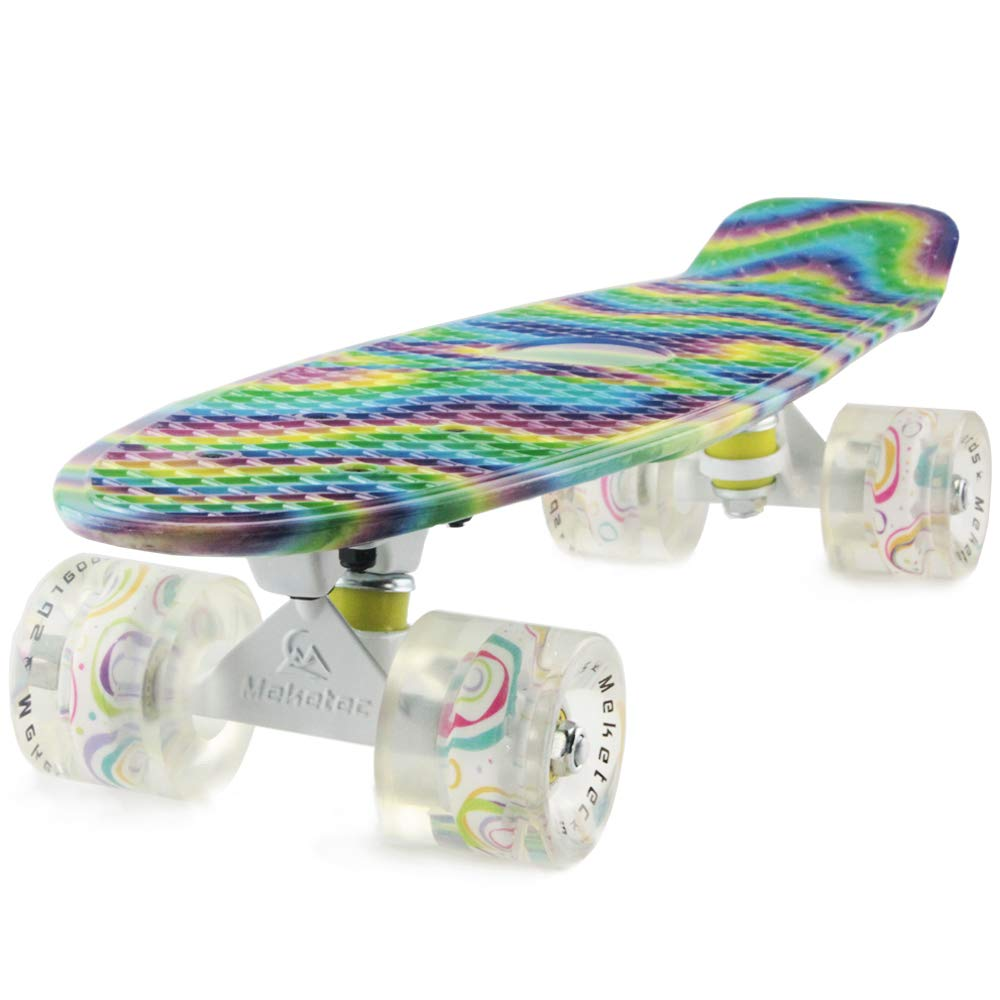 Skateboard Adults Mini Cruiser Complete Kids Skateboards Youth Board for Boy Girl Beginners Children Toddler Teenagers 22 inch (Mermaid) by Meketec