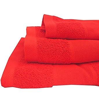 Gyster Conjunto 3 toallas rojas de rizo en algodón natural.: Amazon.es: Ropa y accesorios