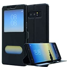 Galaxy Note 8 Case, AICase [ Window View ] PU Leather Magnetic Closure Flip View Case Folio Stand Cover for Samsung Galaxy Note 8 (Black)