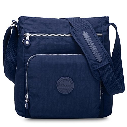Oakarbo Nylon Crossbody Purse Multi-Pocket Travel Shoulder Bag (1301 Navy blue) (Cross Body Bag Blue)
