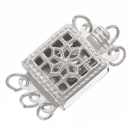Sterling Silver Filigree 3 Strand Box Clasp - Top Quality (Box 3 Strand Sterling Clasp)