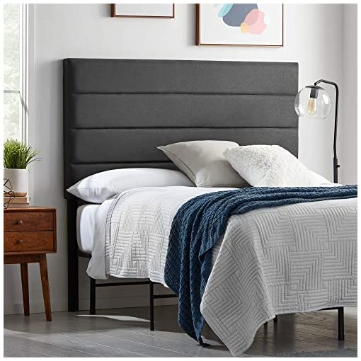 Bedroom LUCID Upholstered 4 Channel Horizontal Tufted Headboard for King/California King Size Bed Frame (Charcoal) modern headboards