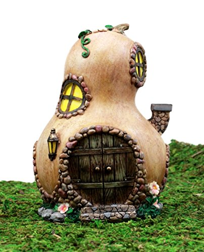 Ebros Gift Enchanted Fairy Garden Miniature Halloween Gourd Cottage House Figurine 6.25