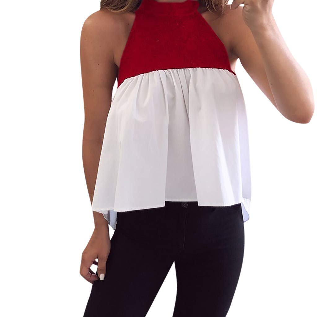 Makulas Women's Summer Halter Tops,Casual Patchwork Shirts Blouse for Women Sleeveless Looes Tops Blouse Red