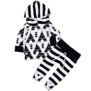 2Pcs Baby Boy Girls Hooded Tower Shirt Top+Striped Print Long Pant Christmas Winter Outfit (12-18Months, White&Black)