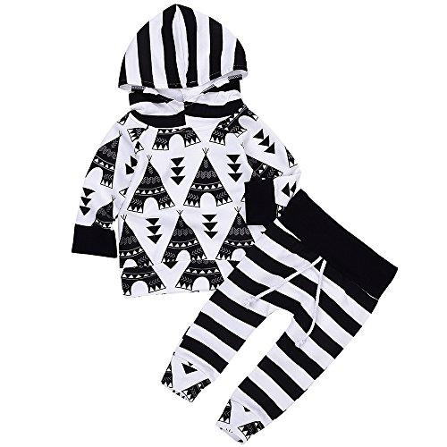 Baby Boy Clothes Set Unisex Cotton T-shirt+Pants (Black) - 5