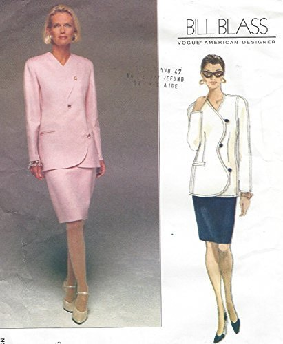 Vogue Sewing Pattern 1706, Misses' Jacket & Skirt Suit by Bill Blass, Size 8-10-12