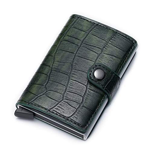 Credit Card Holder RFID Blocking Genuine Leather Vintage Aluminum Business Wallet (B-Green)
