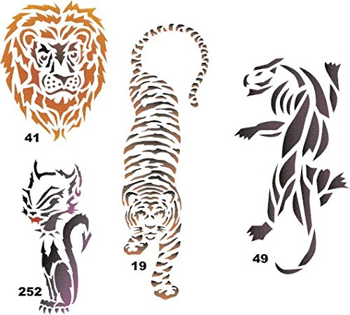 Airbrush Temporary Tattoo Stencil Template Set 15 Lion 2....