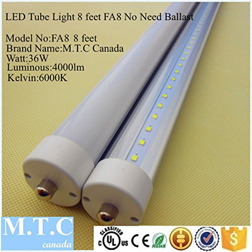 8' Trim Kits Recessed Lighting - LED T8 8 Feet Tube Light FA8 Model Single Pin CUL Classified 36W 4000lm 6000K (Cool White),No Need Ballast Direct line Voltage Pack Of 20 Pcs Price Is $385.00,1 Tube= $19.25 USD For Sale