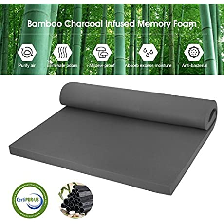 LANGRIA 2 Inch Bamboo Charcoal Infused Memory Foam Mattress Topper CertiPUR US Certified Hypoallergenic Antibacterial Mildew Proof Twin Size