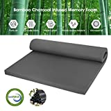 mattress topper extra firm - LANGRIA 2-Inch Twin Bamboo Charcoal Infused Memory Foam Mattress Topper, CertiPUR-US Certified, Hypoallergenic, Antibacterial, Mildew-Proof